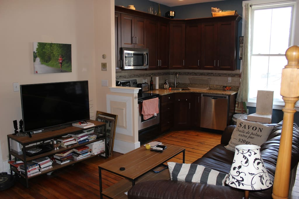Open living space with kitchen (old furniture and decor)