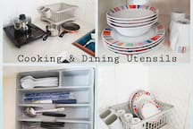 Cooking and Dining Utensils for use.