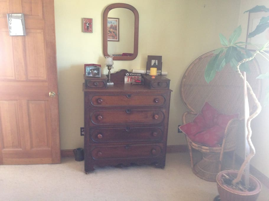 Dresser and wicker chair
