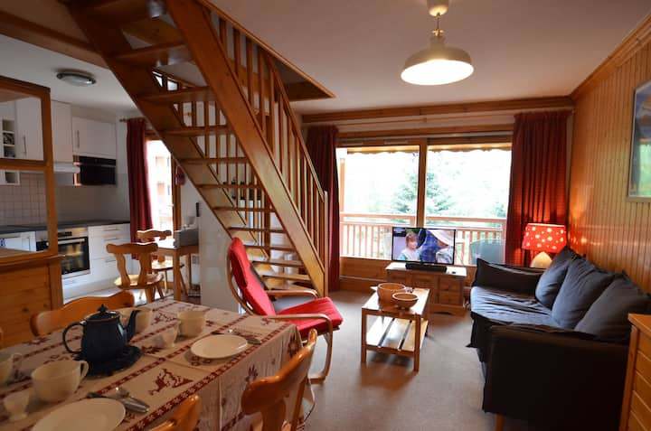 6 persons bright apartement 50m away from St Martin'skilift