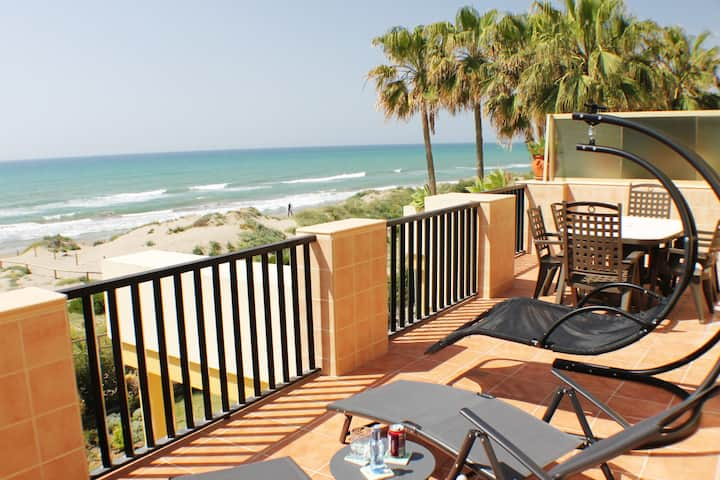 Terrace in best beach of Marbella
