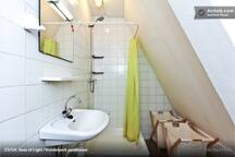 Simple yet convenient bathroom with good hot shower