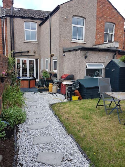Rear garden with hot tub