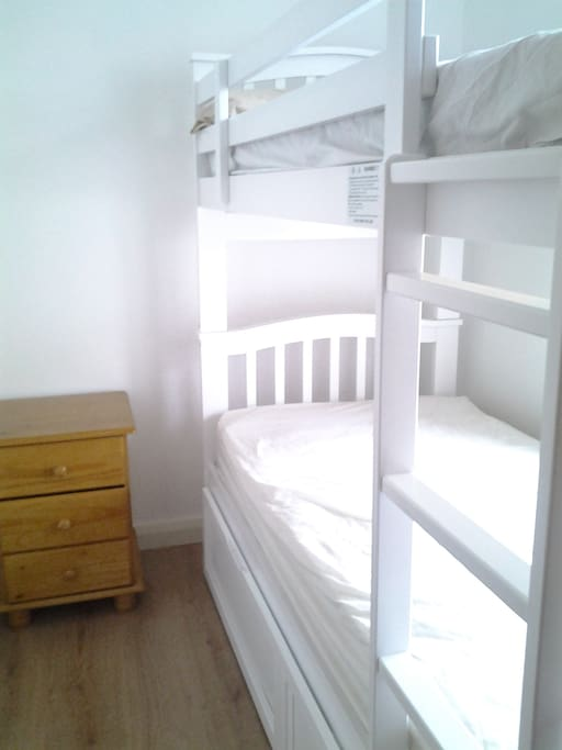 New bunk beds, two single beds.  Ideal for children or adults.