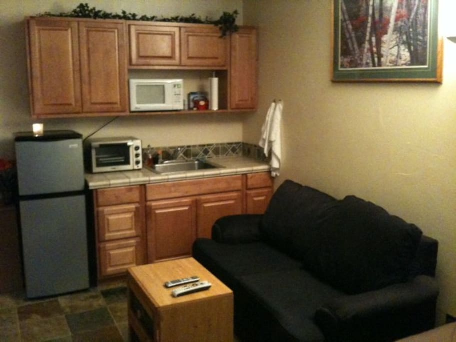 Kitchen area and love seat