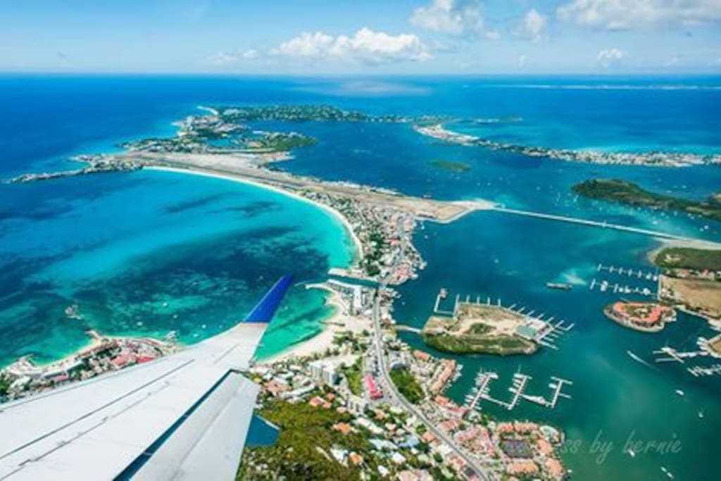 Aerial view of Sint Maarten: home to Fleur De Mer Villa