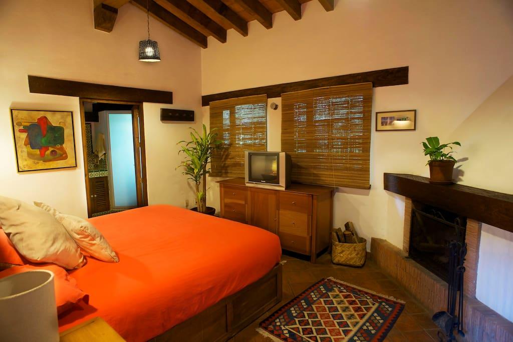 Habitación con cama king , chimenea , televisión con cable y baño completo