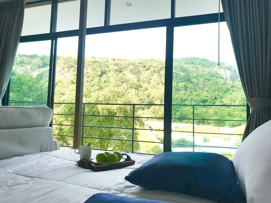 Green mountain scenery from bedroom