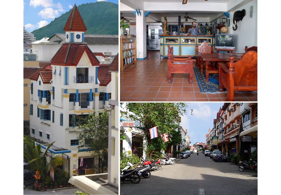 Guesthouse, reception and street