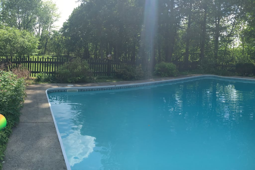 Enjoy our oversized in-ground pool surrounding by trees