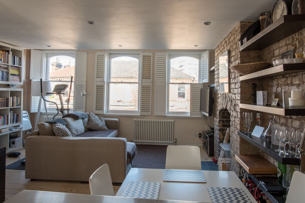 A different perspective of the main living space - the sofa opens out to give you another double bed.