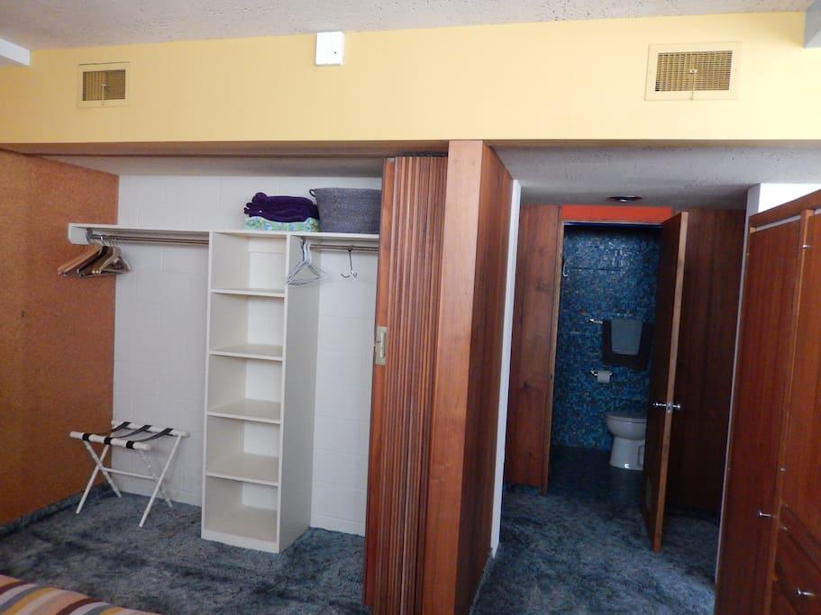 bedroom closet and bathroom