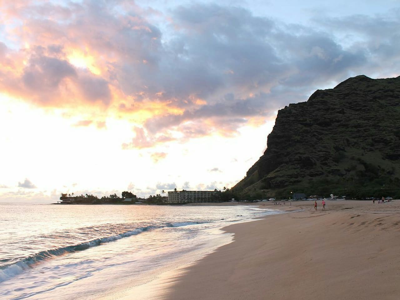 Makaha beach sunset, only 1 mile down the road