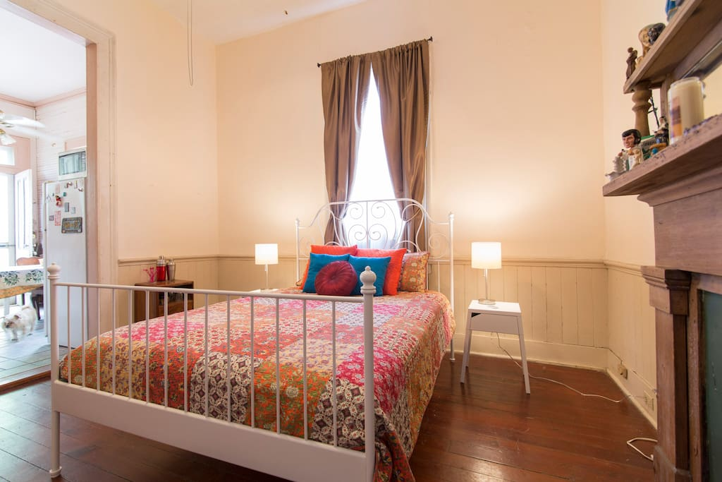 This is a view of the bedroom as you walk into the room.