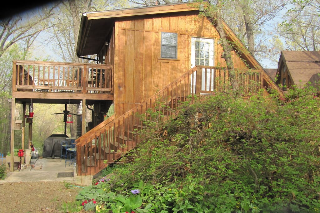 view stairs to cabin and deck. Patio below deck
