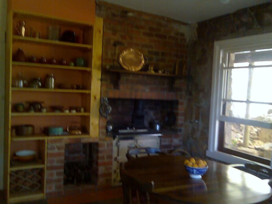 wood and electric stoves in kitchen