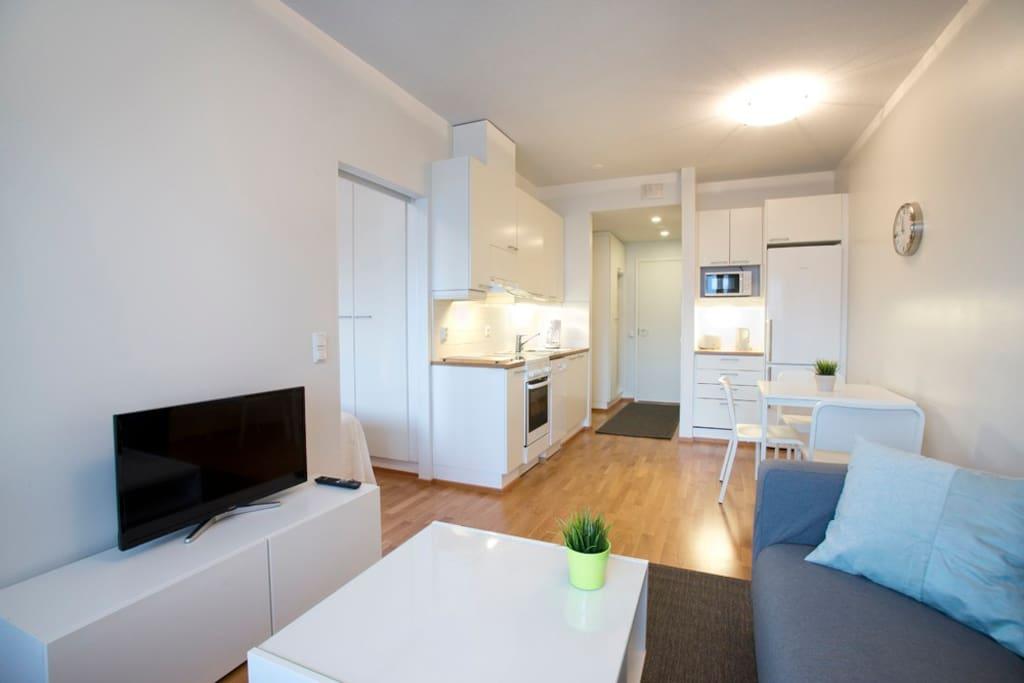 Olohuone keittiöön päin / Living-room view to the kitchen