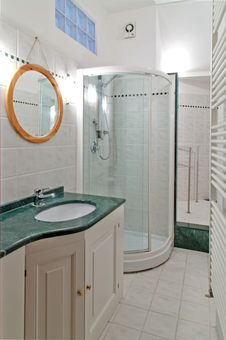 The bathroom with marmor interiours