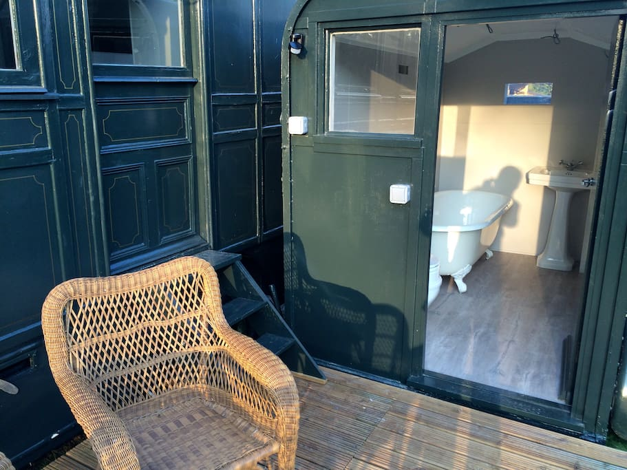 Cast iron bath in the horsebox bathroom