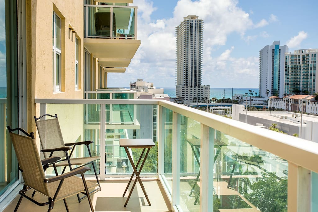 Ocean and Miami Balcony view