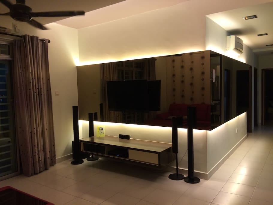Flat Screen TV with DVD Player and Sound System