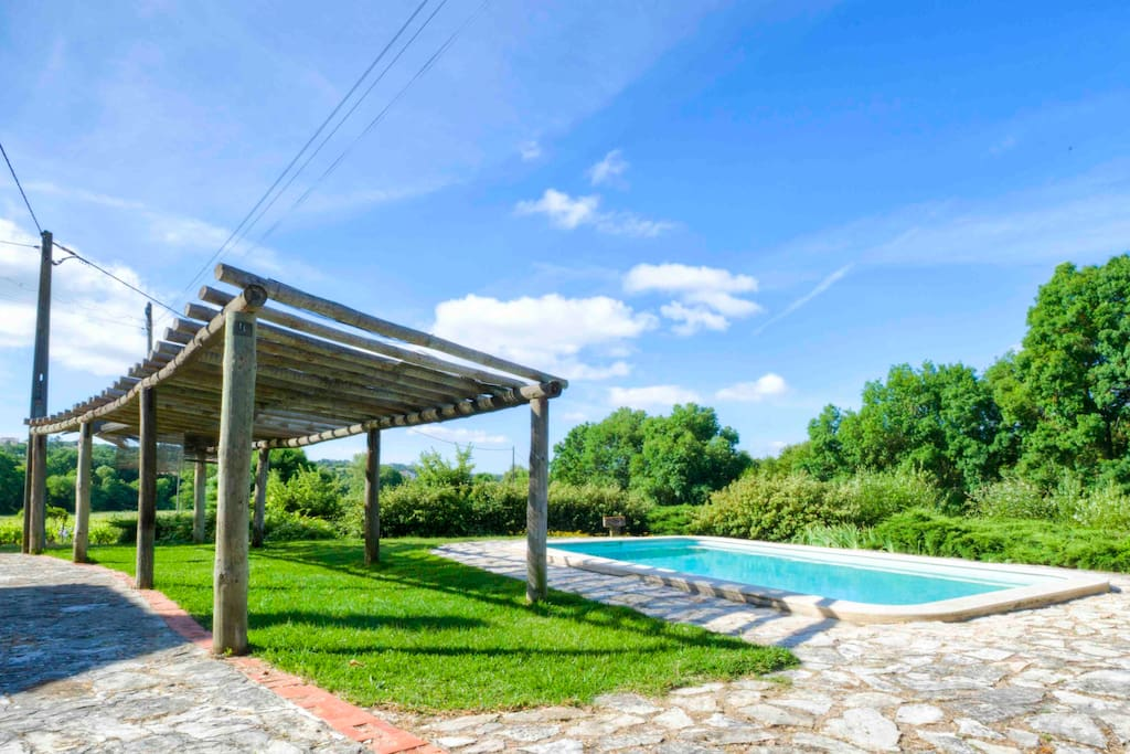 Cool off in the (shared) pool overlooking the vineyards.