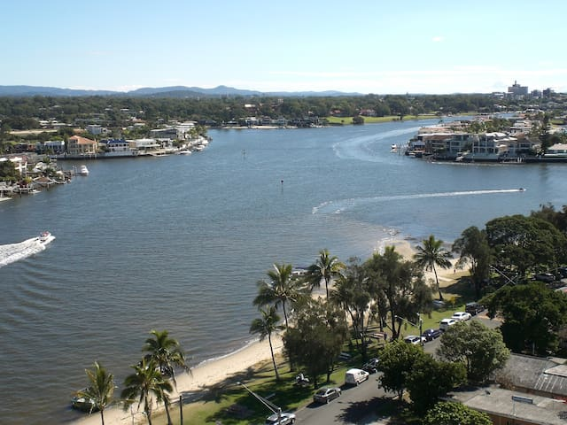 North facing view. The sandy foreshore is Budds Beach and park