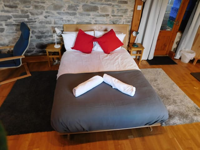Very comfy double futon base with a luxury hotel quality mattress - not a futon mattress
