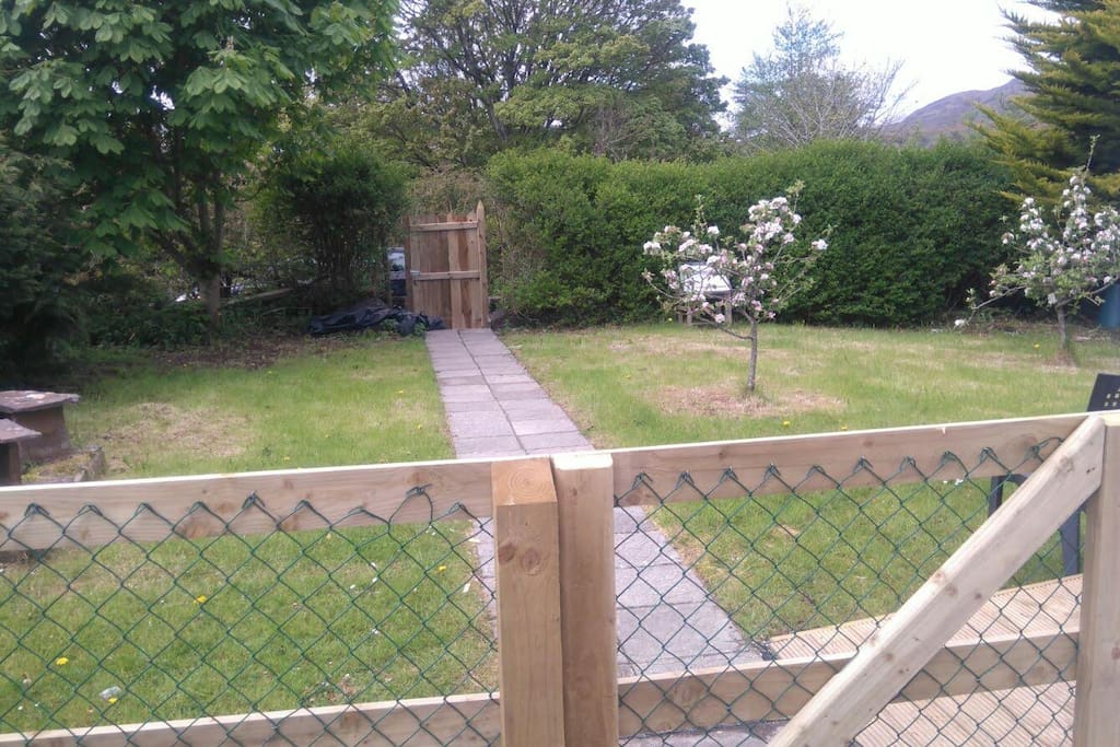 Garden and fenced area.