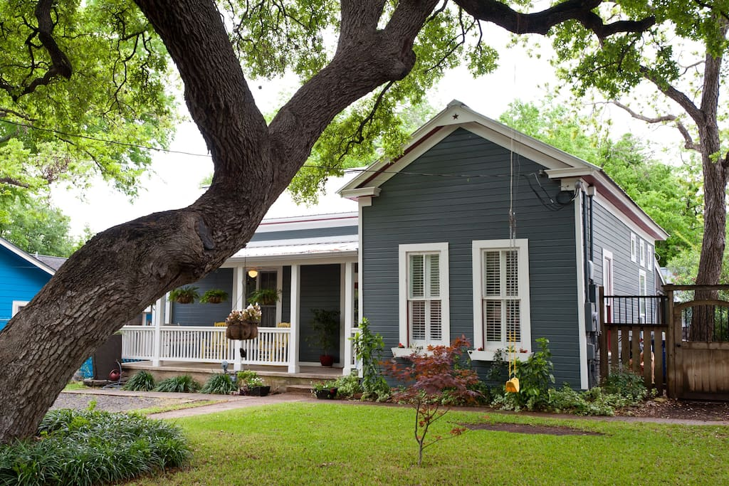 Beautiful live oak, front porch, and a swing!