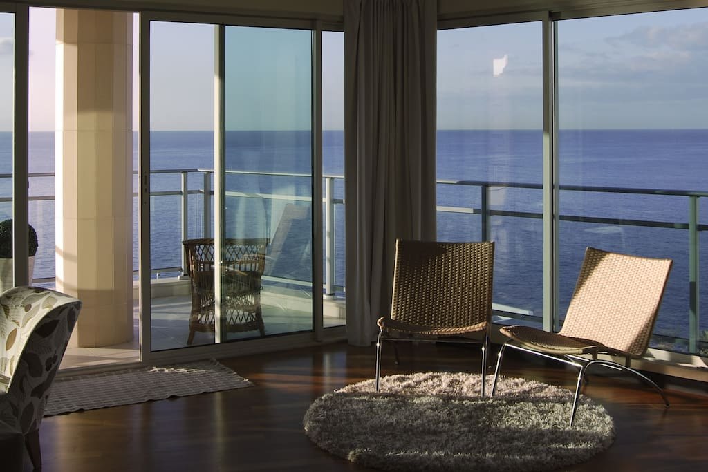 There are fantastic views of the sea from the panoramic windows.