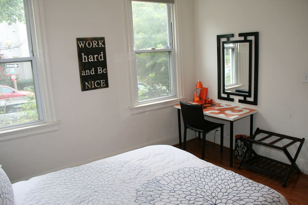 Front Bedroom: Desk, Two Windows, and Built-in Closet.