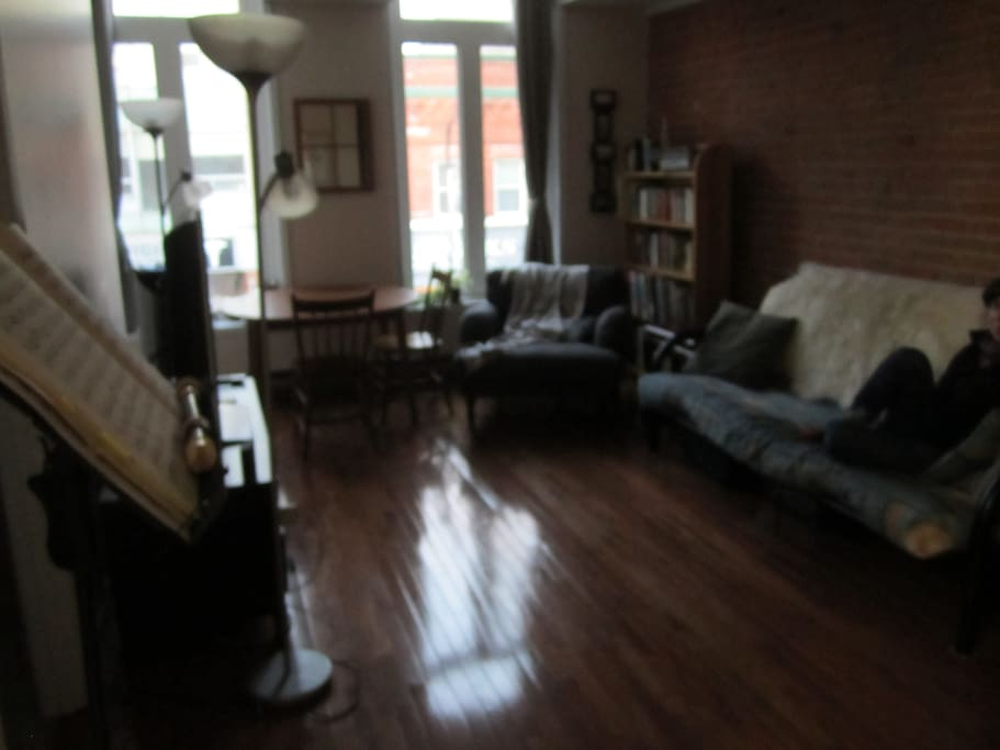 Brick wall in living room! Big windows! Comfy space!
