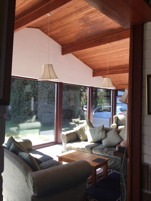The wooden interior gives the feeling of being in a chalet.
