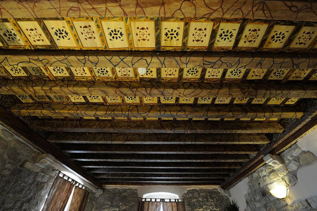 Original ceiling from 13th century painted in gothic style