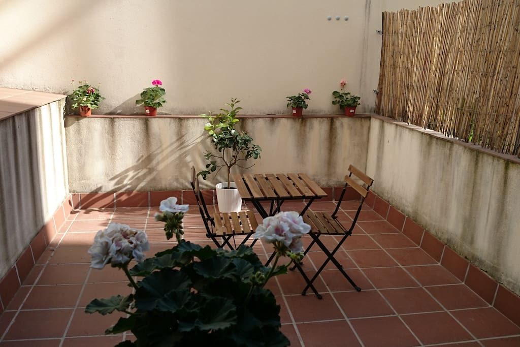 The patio - La terraza. Sunny quiet breakfast? Quick lunch? Romantic dinner with candles? What do you think?