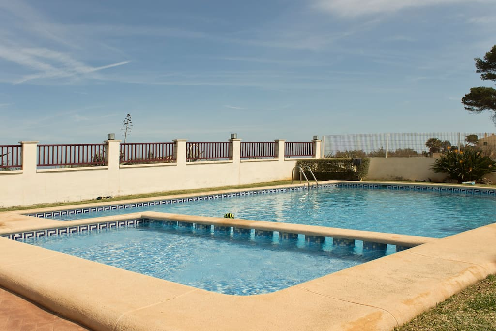 pool with private access to the beach