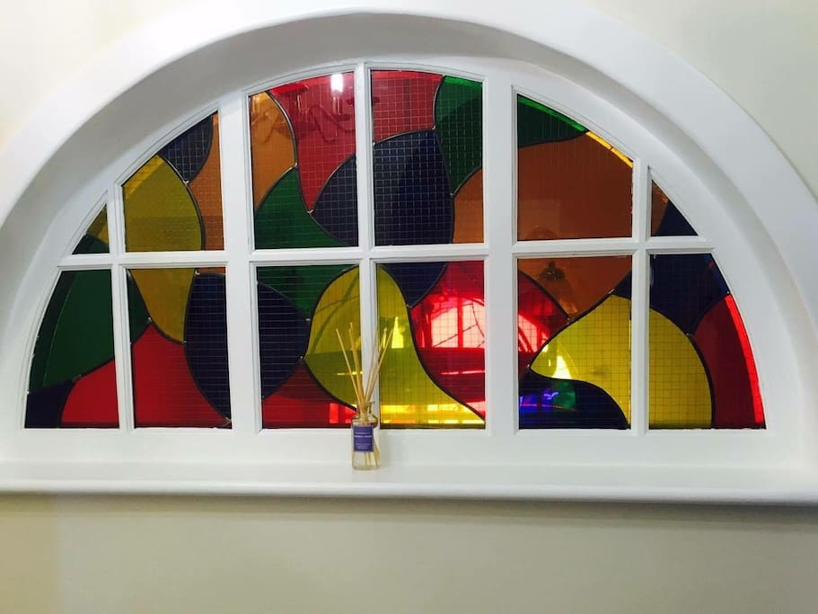 This is the hall window greeting you on arrival, constantly changing with the light.