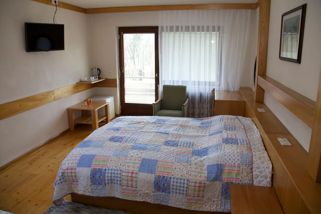 All rooms are equipped with free wi-fi access, TV (cable TV, 30 HD), new orthopedic mattresses, fridge, hair dryer, bathroom, balcony, balcony furniture, tea-pot, crockery set, heating.