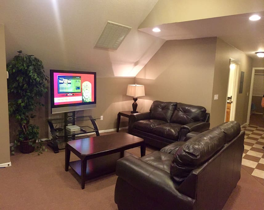 Large screen tv and space to get acquainted with eachoter