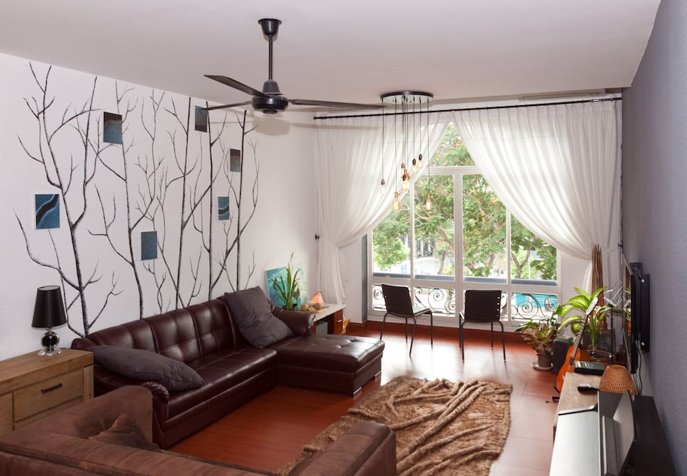 Comfortable living area to relax after a going about the city.