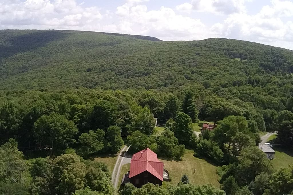 Aerial view of home with Shawangunk Ridge at rear
