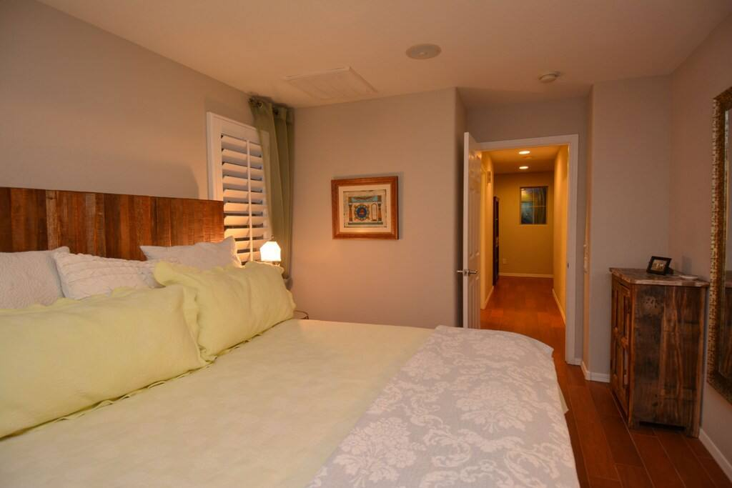 Master bedroom has a California King Size bed and attached bathroom with plenty of space!