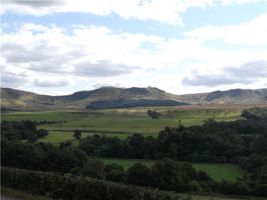 View of the Campsie Fells from the garden