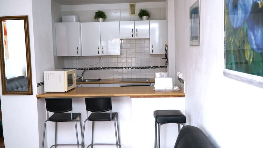 Fully fitted kitchenette with oven, hob, microwave, fridge, kettle, toaster etc