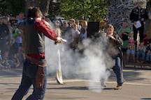 Watch the shoot out gang perform each night on the Town Square.