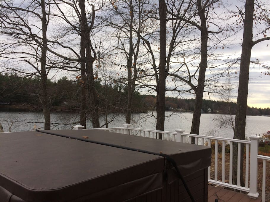 View from upper deck. Hot tub seats 5-6 and feels great under the stars after a day of lake fun