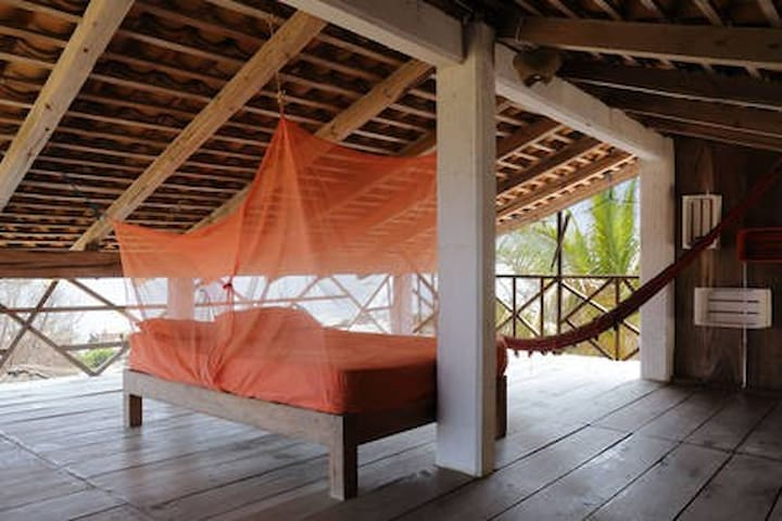 Double bed and hammock on the mezzanine. Best view and breeze of the house!