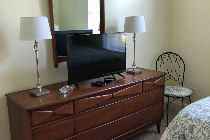 Netflix and Amazon are available in your room  and for those times when you need a change of space, the sun/family room has a large flatscreen TV as well.