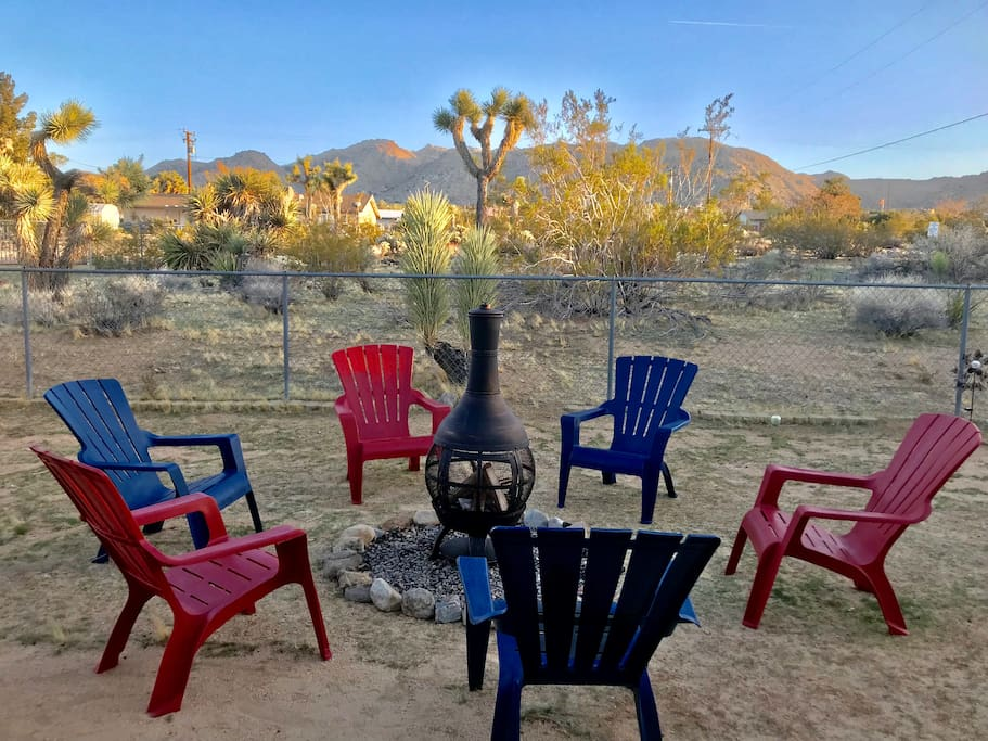 JUST ADDED - outdoor fireplace and chairs.  The Adirondack chairs have the perfect tilt for star gazing around the fire.